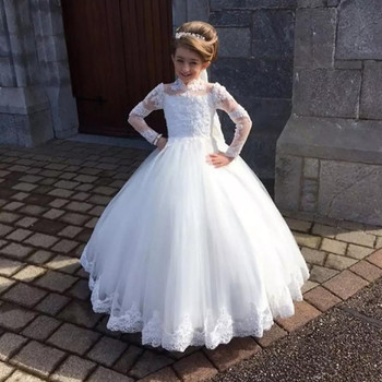 Stylish White Flower Girls Dress for Wedding Party High Neck Baptism Gowns Tulle Full Sleeve Appliques Kid Holy Communion Gown
