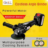 Cordless Angle Grinder 20V Lithium Ion 6000mAh Grinding Machine Cutting Electric Angle Grinder Grinding Power Tool for Home DIY|Grinders| |  -