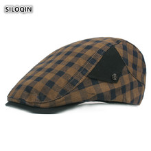 SILOQIN Berets For Women Autumn Winter Cotton Adjustable Size Fashion Simple Plaid Cloth Wild Snapback Leisure Motion Hat