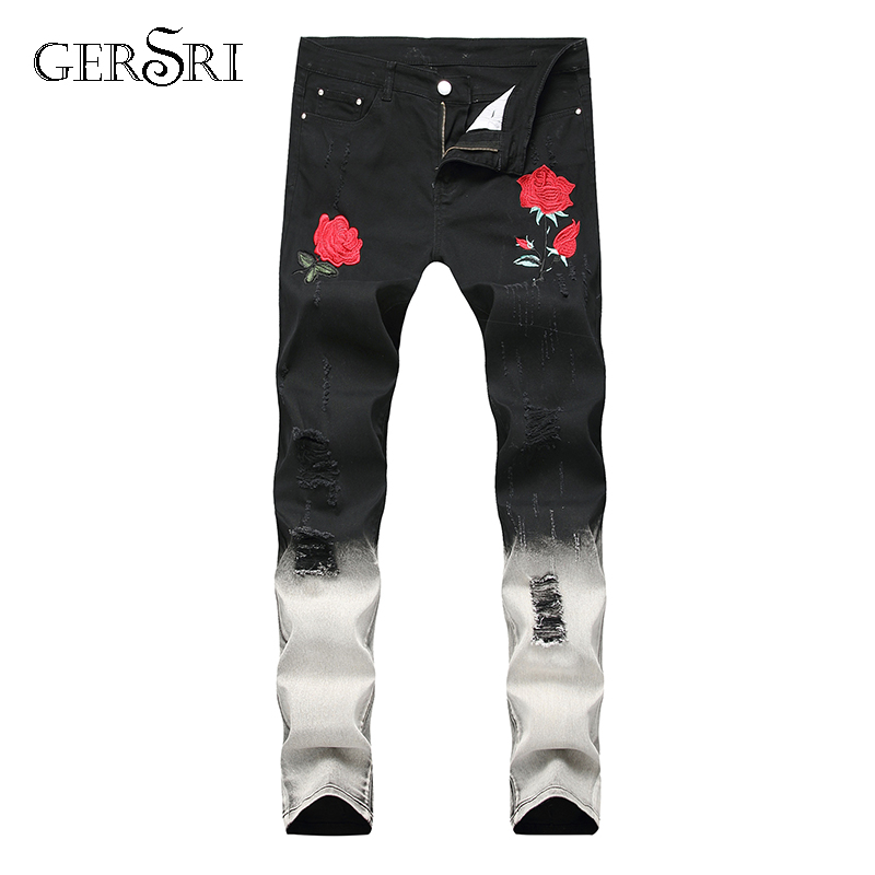 Gersri Jeans Men Hole Straight Destroyed Flower Printed Jeans Casual Slim Ripped Jeans Roses Men's Trousers Denim Pant For Male