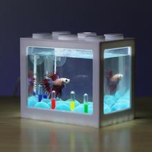 6 цветов, мини-аквариум, USB светодиодный светильник, лампа для аквариума, для дома, офиса, чайный столик, украшение, маленький строительный блок, аквариум