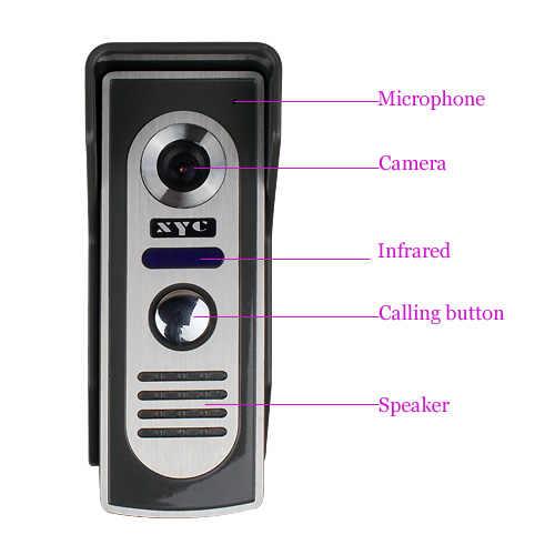 """7 """"جرس باب يتضمن شاشة عرض فيديو نظام اتصال داخلي مفتاح اللمس 1000TVL باب كاميرا فيديو مقاوم للماء الأشعة تحت الحمراء الأشعة تحت الحمراء السلكية الفيديو باب الهاتف للمنزل"""