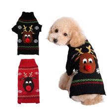 Pet Dog Clothes Winter Red Nose Deer Xmas Sweater Chihuahua Puppy Cat For Small Dogs Warm Christmas Elk Sweater Wholesale(China)