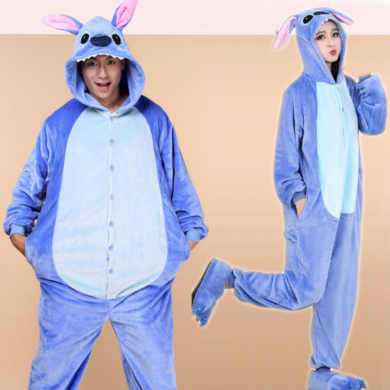 Cartoon Jumpsuit Stitch Pajamas Women Men Sleepwear Onesies Unisex Adult Cosplay Costume Party Kigurumi Set Home Clothes Flannel