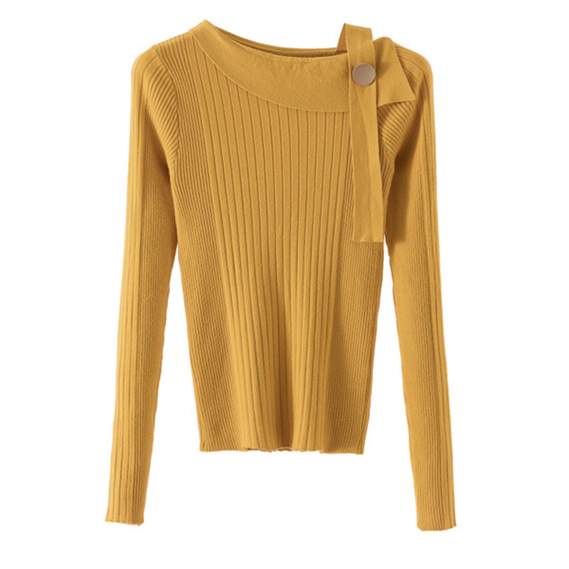 Gkfnmt Women Sweater Pullovers Knitted Female Autumn Winter High-Elasticity Off-Shoulder