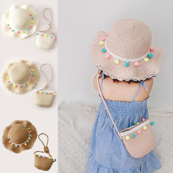 Summer Fashion Children Sunscreen Sun Hat Straw Bag For Girls Cool Girl Cute Breathable Baby accessories