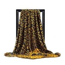 Fular de seda con estampado para mujer, pañuelo para el cuello, cuadrado, para oficina, musulmán, 90x90cm