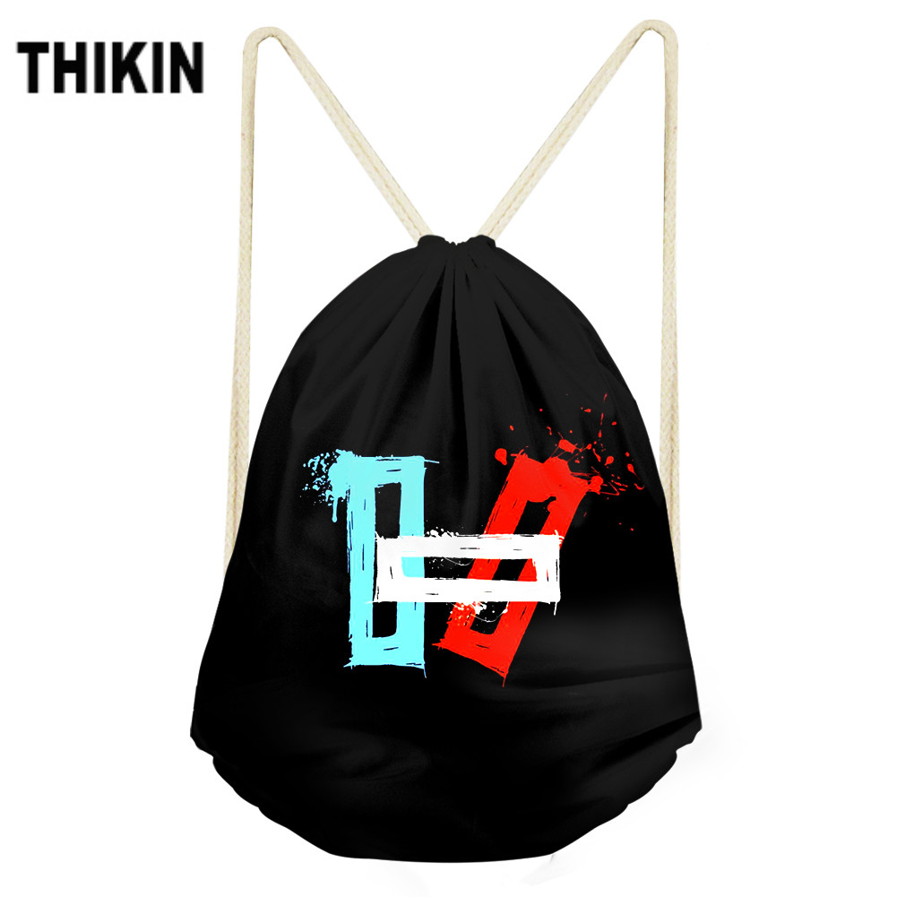 ThiKin 2019 Hot Twenty One Pilots Print Drawstring Bag For Teen Boy Girls Fashion Shoulder Bags Cool Pattern Personalized Custom