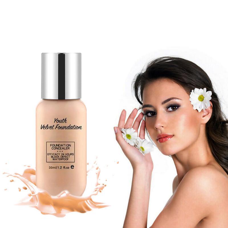 30ml Whitening Face Foundation Soft Matte Long Wear Oil Control Concealer Liquid Foundation Cream Fashion Womens Makeup TSLM2