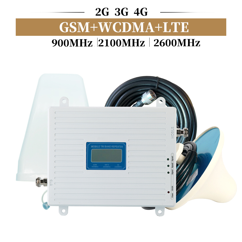 Tri Band 2G 3G 4G Signal Booster GSM 900+(B1)WCDMA 2100+(B7)FDD LTE 2600 Cellphone Signal Repeater Mobile Cellular Amplifier Kit