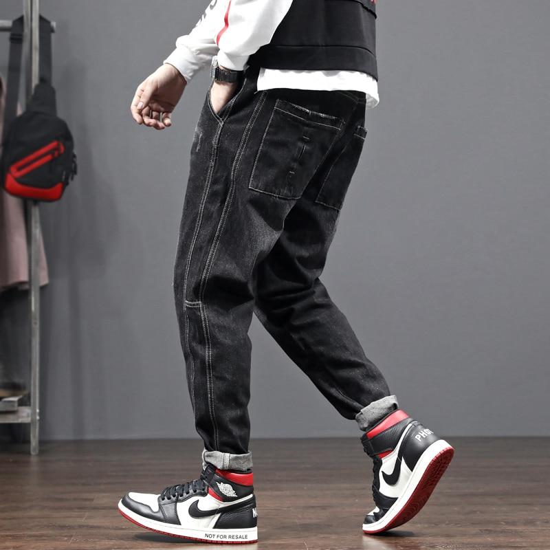 Fashion Streetwear Men Jeans Loose Fit Black Spliced Designer Harem Pants Wide Leg Trousers Japanese Vintage Hip Hop Jeans Men