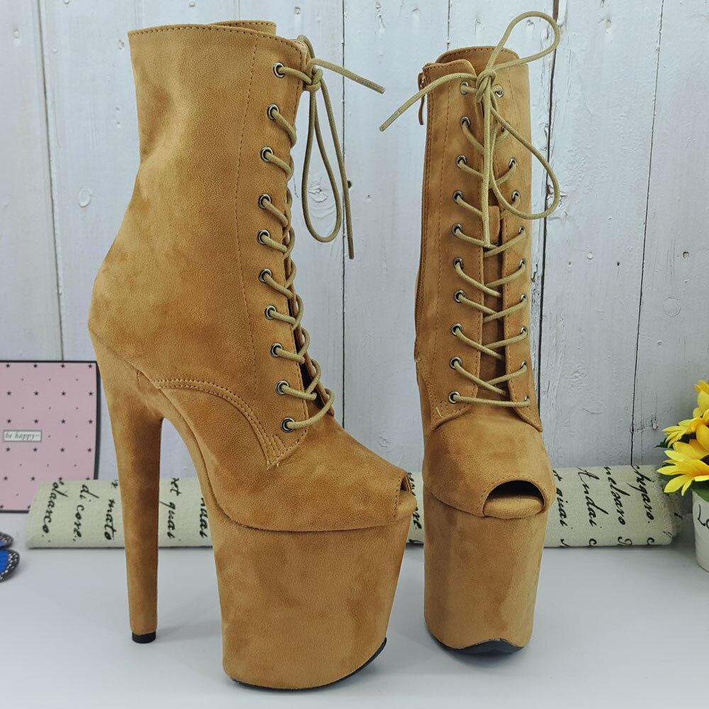 Leecabe Camel Suede Upper 20CM/8Inch Women's Platform  Party High Heels Shoes Pole Dance Bootie