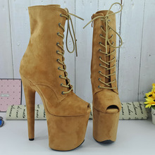 Leecabe Camel Suede upper 20CM/8Inch Womens Platform  party High Heels Shoes Pole Dance bootie