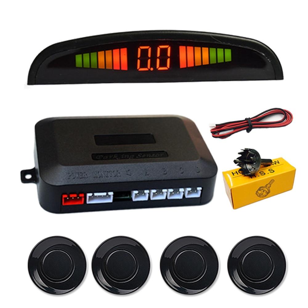 Car Auto Parktronic LED Parking Sensor + 4 Sensors Reverse Backup Car Parking Radar Detector Monitor System Backlight Display