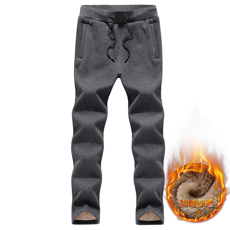 Winter Men Brushed And Thick Cotton-padded Trousers Loose-Fit MEN'S Casual Pants Straight-Cut MEN'S Trousers Versatile Sports Sw