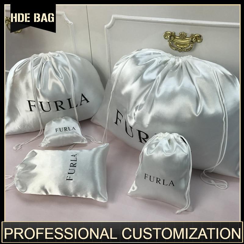 Smoothly Silk Hair Bag Jewelry/Makeup/Gift/Wedding/PartyStorage Bright Satin Dustproof Drawstring Pouch Pocket Print Logo Custom