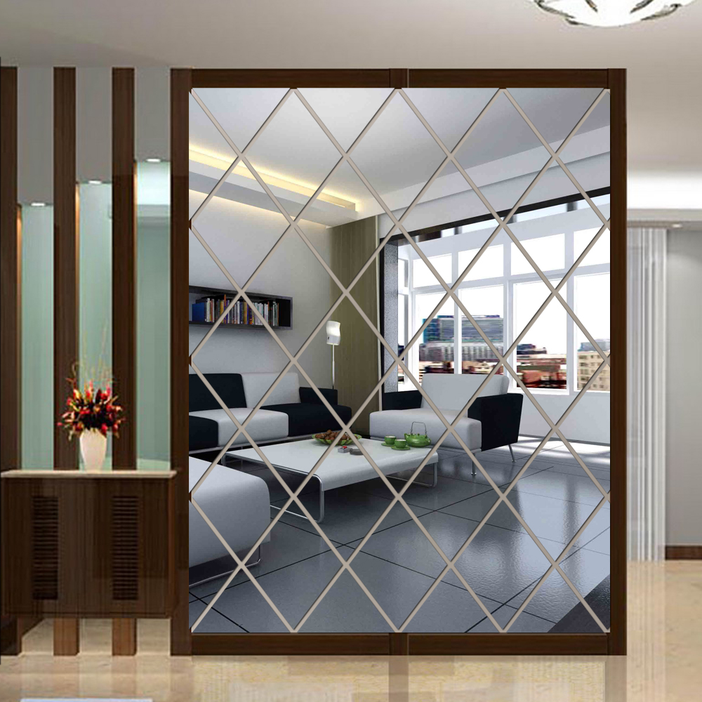 Diamond Shape Mirror Wall Stickers Living Room Bedroom Wall Decor 3d Triangles Acrylic Wall Decals Art House Decoration Special Price D24b Cicig