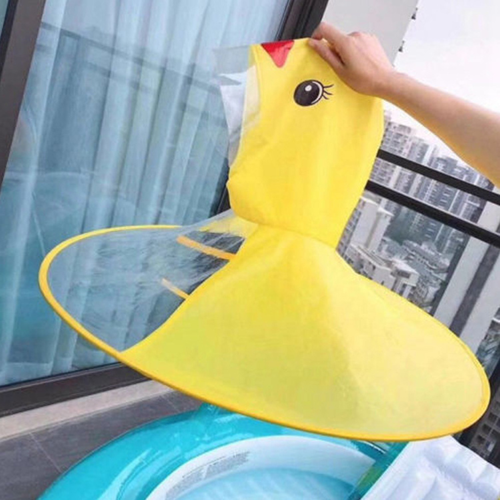 Creative Cartoon Duck Rain Hat Foldable Children Raincoat Umbrella Cape Cute Rain Coat Cloak Universal For Boys Girls
