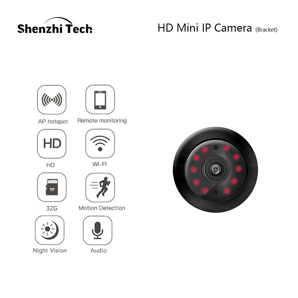 IP Camera, Wifi Camera Mini Camera With Infrared Night Vision 2 Way Audio Motion Tracker CCTV P2P Home Security (Bracket Type)