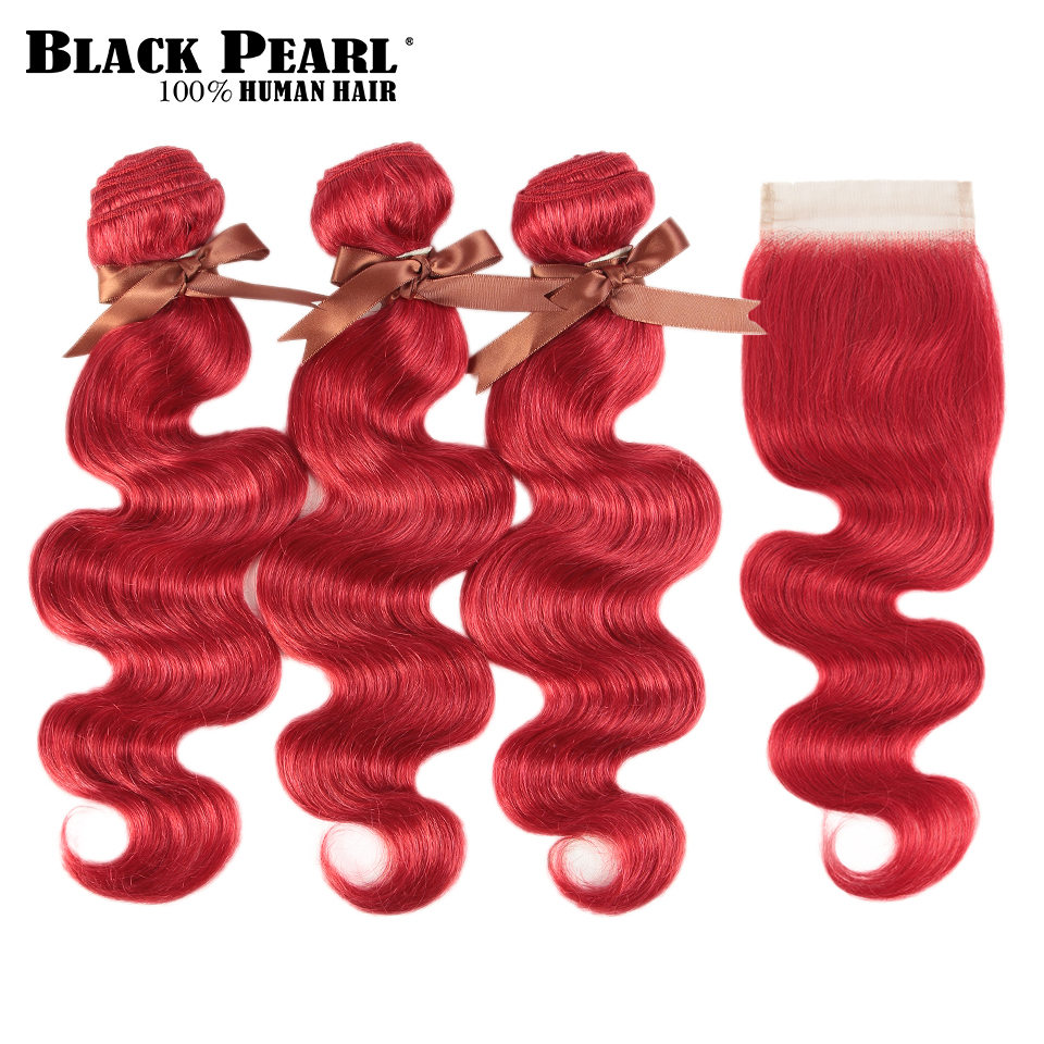 Black Pearl Red Bundles With Closure Malaysian Body Wave Remy Human Hair Weave Red Bundles With Closure