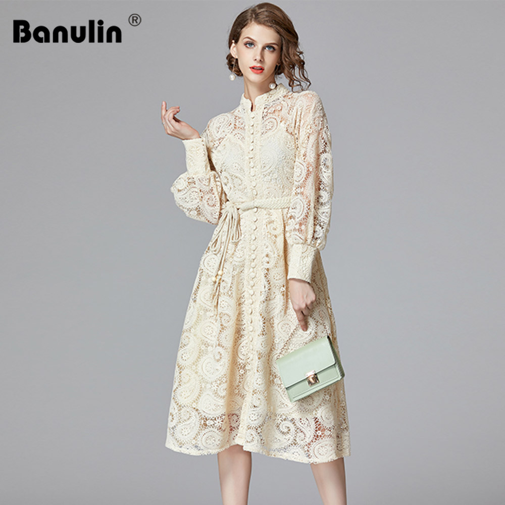 Banulin High Quality 2020 Fashion New Attached Belt Hollow Out Lace Midi Dresses Women Lantern Long Sleeve Female Dresses