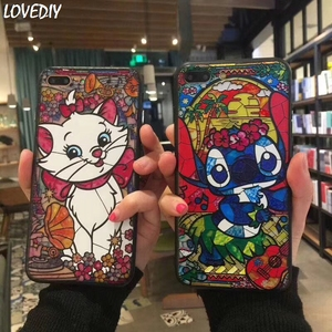 Cute Cartoon Marie Cat Stitch Chip Dale Princess girl Phone Case For iPhone 7 8 6 6s Plus X XS Max Xr relief Mermaid Elf Case(China)