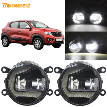 Buildreamen2 For Renault Kwid 2015 2016 2017 2018 Car External LED Projector Fog Lamp + Daytime Running Light DRL White 12V