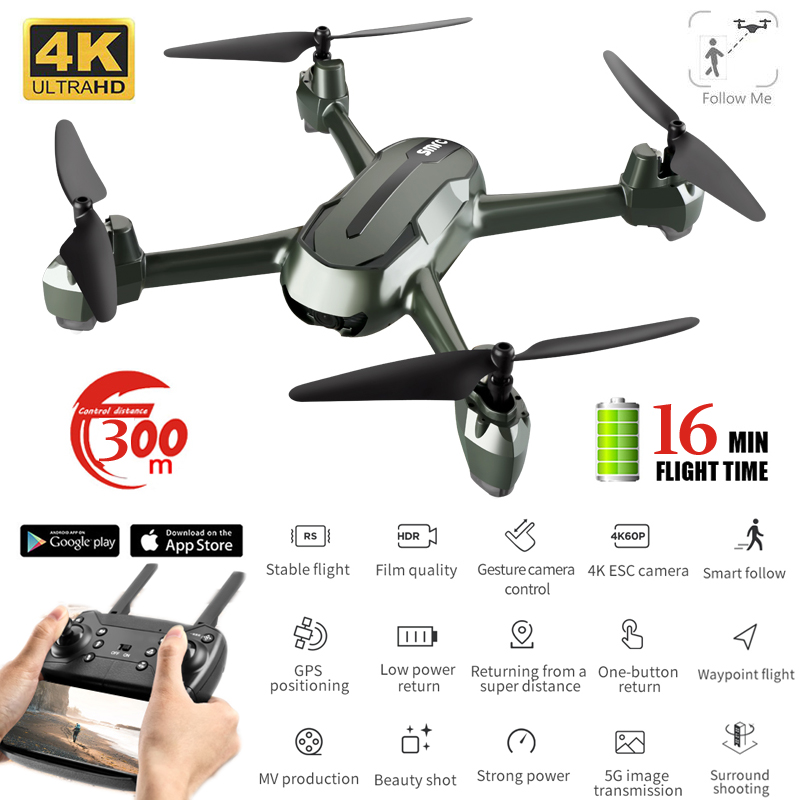 Professional Drone Gps HD 4K Optical Flow Positioning Headless Altitude Hold 5G WiFi FPV RC Quadcopter GPS Drones With 4k Camera