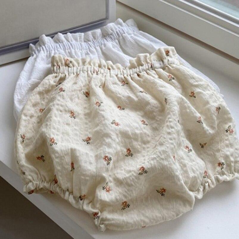 Цветочный Моток для новорожденных девочек одежда летние Винтажные льняные хлопковые шорты для младенцев ПП брюки для маленьких девочек де...