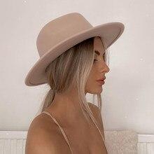 Sombrero Fedora de ala ancha de fieltro de lana para hombre y mujer, sombrero clásico con cinturón de perlas, color rosa, liso, para invierno, boda, iglesia, Jazz