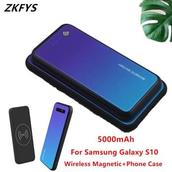 Power Fall 5000mAh Drahtlose Magnetische Schnelle Ladegerät Batterie Fall Für Samsung Galaxy S10 Tragbare Externe Batterie Lade Abdeckung