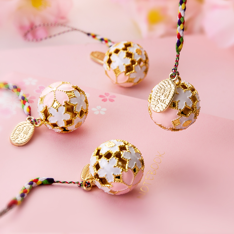 1pc Lucky Cherry Blossom Pattern Bell Sensoji Temple Amulet Water Sound Bell Cute Mobile Phone Pendant Handmade Accessories Gift image
