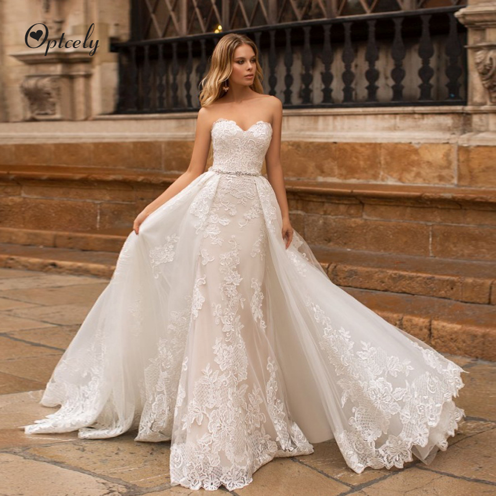 Optcely Gorgeous Sweetheart Neck Mermaid Strapless Sexy Ivory Wedding Dress Beautiful Princess New Appliques Beaded Bridal Gowns