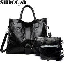 SMOOZA Women Handbag Mother Bag New 3 Pcs/set Female Bags Simple Large capacity Single Shoulder Bag Womens Handbags