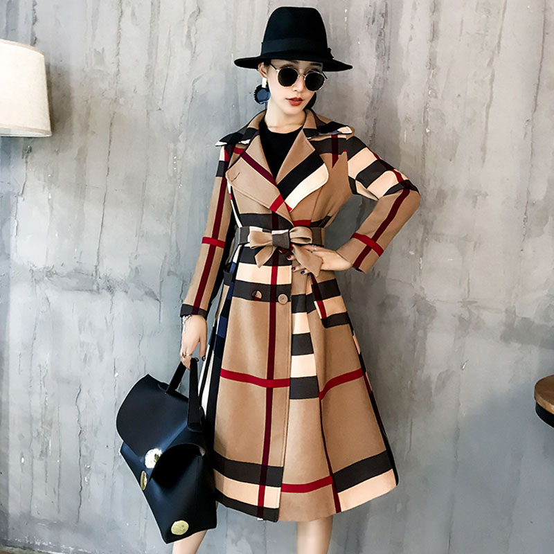 UK High fashion Runway 2019 Fall / Winter Women slim Casual Women Wool jacket Plaid loose Maxi Long coat Female outerwear DJN19 1