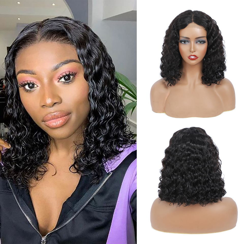 Deep curly Short Bob 4x4 Lace Front  Wigs PrePlucked  Kinky Deep Water Wave Frontal Virgin Wig 1