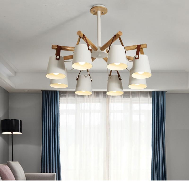 Hanglampen Moderne Houten Hanglamp Nordic Licht Voor Cafe Restaurant Slaapkamer Hanglamp Keuken Kleurrijke Suspension Armatuur-in Hanglampen van Licht & verlichting op title=