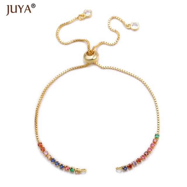 Cuivre Zircon strass réglable glissière perles chaîne accessoires chaînes pour bracelet à bricoler soi-même faisant