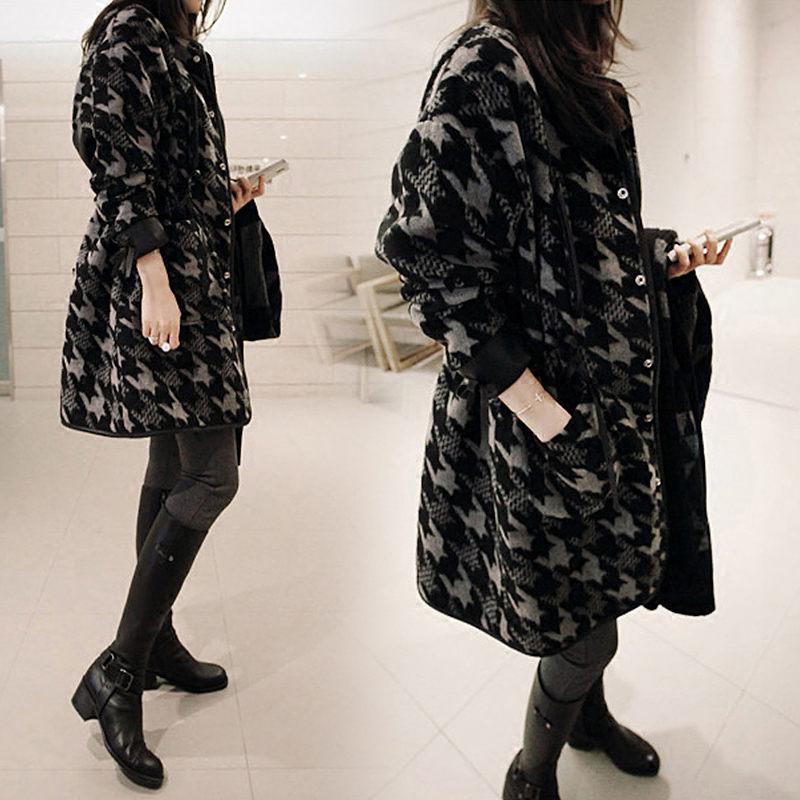 New Chic Korean Woolen Coat Female Houndstooth Long Retro Lattice Blend Jacket Winter Fashion Flannel Loose Casual Outwear f1555 - 4