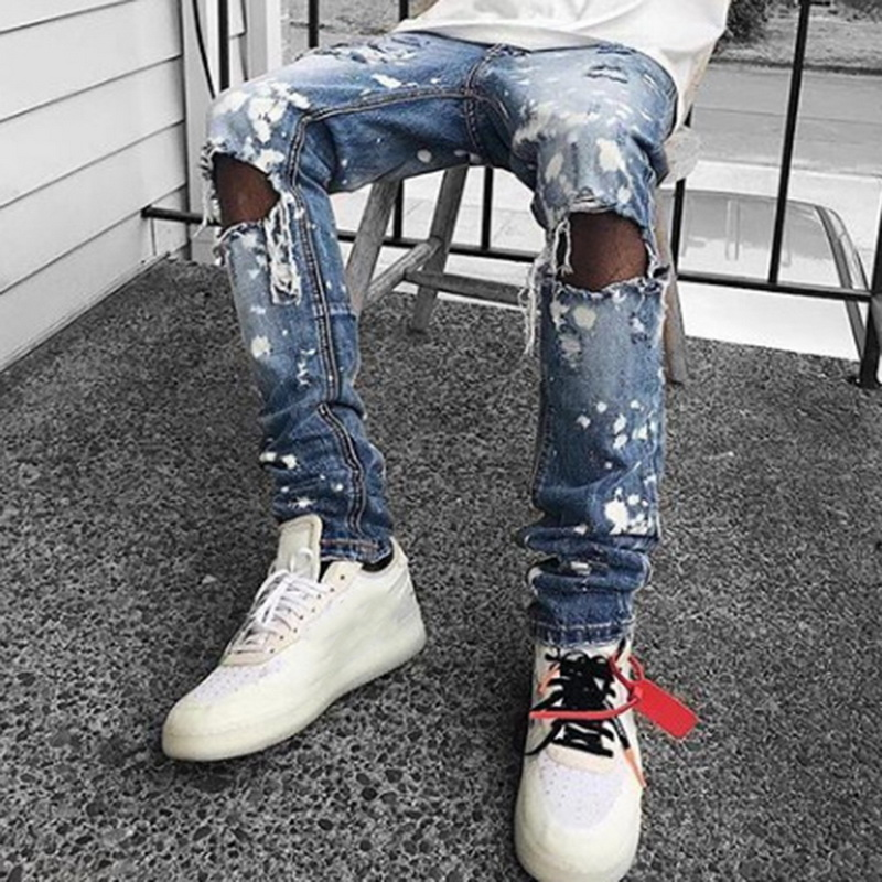 Men's Ripped Skinny Distressed Destroyed Jeans Male Slim Fit Stretch Biker Jeans Pants With Holes Autumn Denim Trousers 2019 New