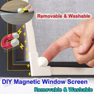 Image 1 - Ayarlanabilir DIY özelleştirmek manyetik pencere teli windows motosikletler için çıkarılabilir yıkanabilir görünmez sinek sivrisinek teli Net örgü