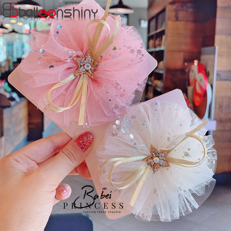 BalleenShiny Mesh Sequined Five-pointed Star Flower Infant Baby Hairpins Princess Headdress Kids Girl Hair Clip Baby Accessories