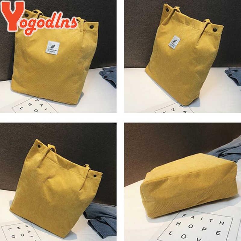 Yogodlns נשים קורדרוי כתף תיק כותנה בד גדול מזדמן נקבה אקו Crossbody תיק גבירותיי בציר נסיעות שקיות