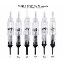 Agulhas permanentes do cartucho da composição da agulha da tatuagem da revolução dos pces de biomaser 10 para os lábios 1r da sobrancelha, 2r, 3r, cartucho giratório da máquina 5r