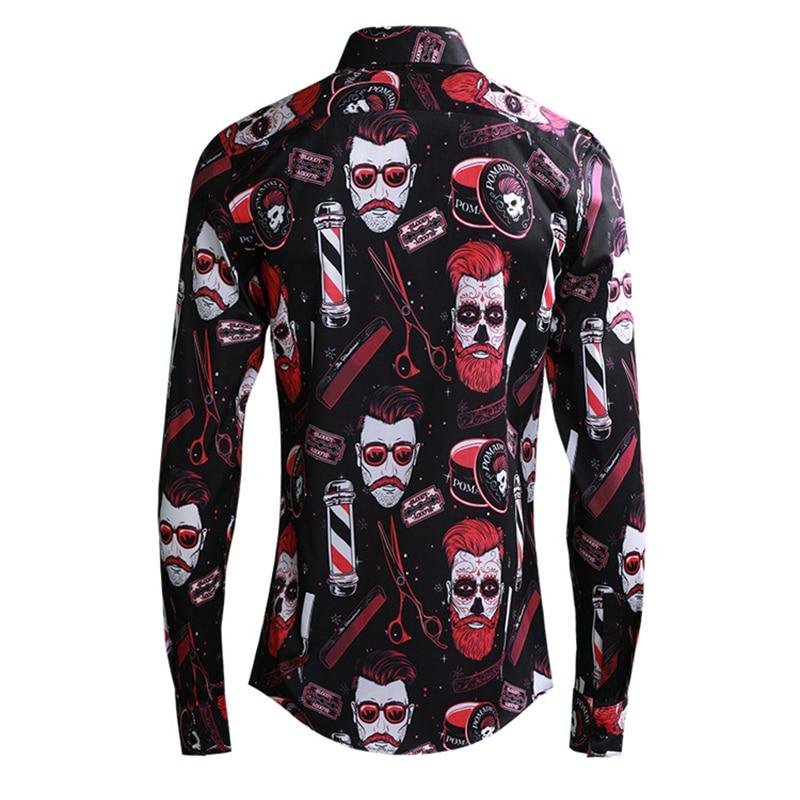2019 Europe Men Fashion Boy Red Print Shirts Long Sleeve Turn down Collar Slim Fit Shirt Black Blue Male Clothing Streetwear - 2