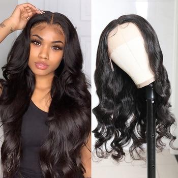 Klaiyi del pelo de la onda del cuerpo T malla con división peluca brasileña Remy pelucas de cabello humano para las mujeres Pre arrancó 13x1 parte de encaje peluca Natural negro