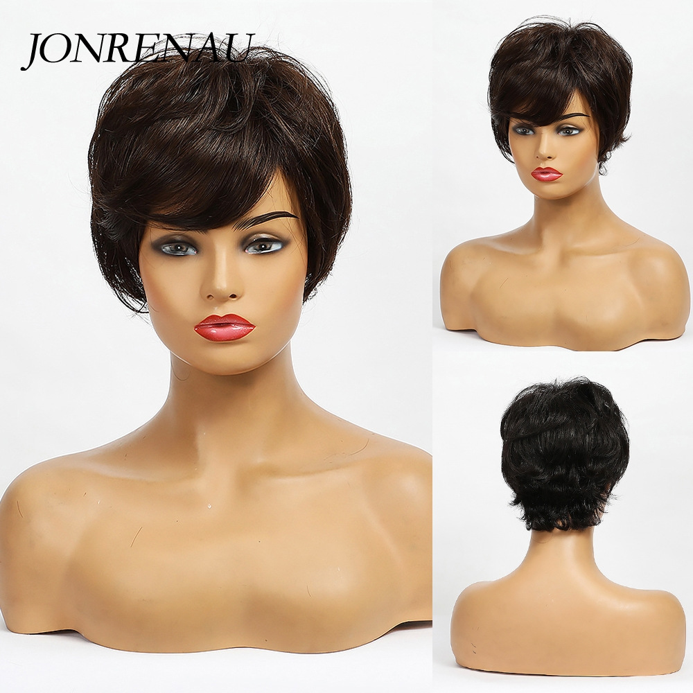 Jonrenau Short Wave Fluffy Pixie Cut Dark Brown Human Hair Wigs for White Women Synthetic Party Daily Use Hair with Bang