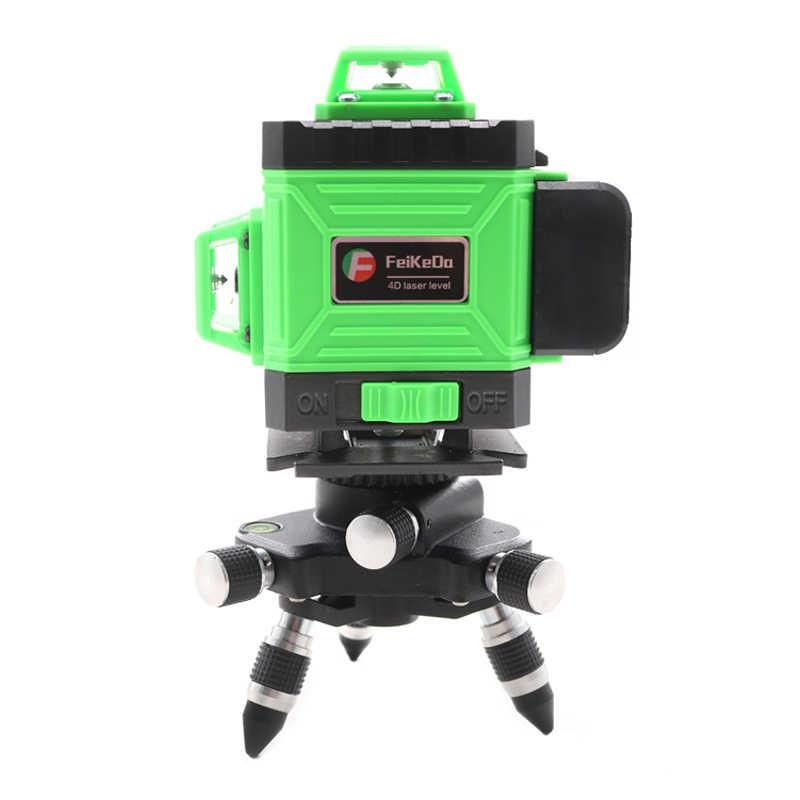 Yeni profesyonel 16 hat 4D lazer seviyesi japonya keskin yeşil 515NM ışın 360 dikey ve yatay kendinden tesviye çapraz
