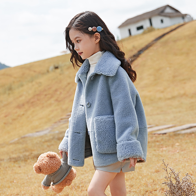 Girls lambskin Outerwear 2019 Korean version of the winter children's baby thick plush Single-breasted coat 4-15Y