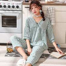 Pajamas Set Women Sexy Student Plaid Summer Cotton Pyjama Long Shirt Pants 2Piece/Set Home Mom Sleepwear 2019 Fashion Clothes